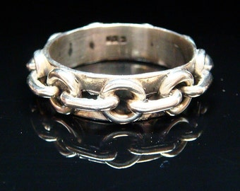 "Sterling ""Chain"" Link Eternity Ring Band - Size 11.75"