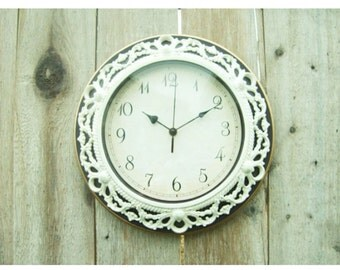 Shabby Chic WALL CLOCK in Heirloom White or Any Color - Ornate - Home Decor