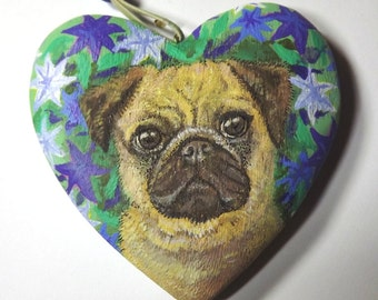 Portrait of your Dog on a wooden heart. A pet memorial, a unique personalised gift, or a Christmas ornament. Painted by artist Kes Samuelson