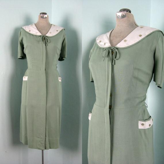 Vintage 1940s 1950s Dress // SUMMER SAGE // by LAMPL // L 42b/32w/44h