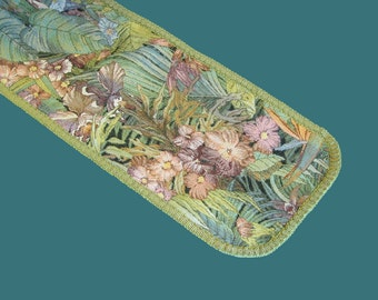 Table Runner-Tapestry Table Runner-Jungle Motif Table Topper-Tropical Table Linen-Floral Table Scarf -Green, Pink, Violet, and Teal Runner