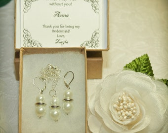 Personalized White Pearl Bridesmaid Earrings and Necklace Set -- White Pearl Earrings and Necklace Set -- Bridesmaid Set -- Bridesmaid Gift