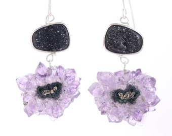 Black Druzy Earrings With Stalactite Slice