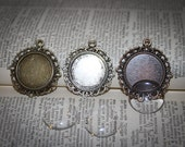 2 COMPLETE KITS to make Bridal Wedding Bouquet Charms-  Pendants and the glass cabochons  -Round Lacy Edged - 20mm