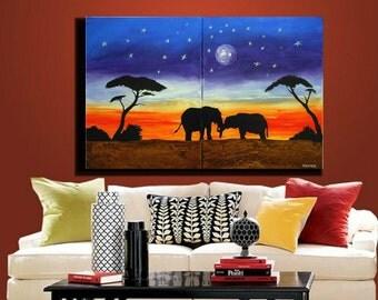 ORIGINAL PAINTING landscape painting, Art, original painting, abstract on  canvas, elephant painting, modern African design 24X36