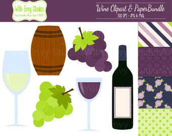 50% OFF  Wine Scrapbook Paper Pack - Wine Clipart Set -  ,