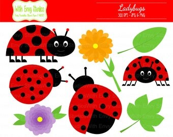 50% OFF  Ladybug Clipart - Red Ladybug Clipart - Ladybug Clip art - Flower Clipart - Leaves Clipart,