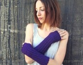 Purple Arm Warmers Long Gloves Womens Accessories Ladies Fingerless Gloves Plum Accessories Winter Knits Wife Gifts for Girlfriend Present