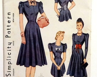 Vintage 1939 Simplicity 3302 Dress Pattern with Accessory Set Size 20 Bust 38
