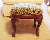 Moroccan Leopard Mahogany Vanity Bench Stool