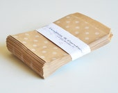 """25 Dots Patterned Kraft Paper Bags for decorate, party favors, and many more Size 4 x 5 3/8"""""""