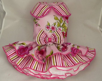 Small dog harness dress. Tutu 5 layer skirt. Floral pink