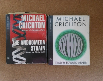 Michael Crichton Audiobooks-Sphere and Andromeda Strain-2 book Set-Audiotapes