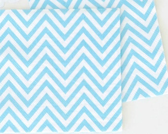 """Paper Napkins 6.5""""  Chevron  set of 20  Blue Compostable Sustainable Eco Friendly Birthday Party Wedding Bridal Shower Baby Shower"""