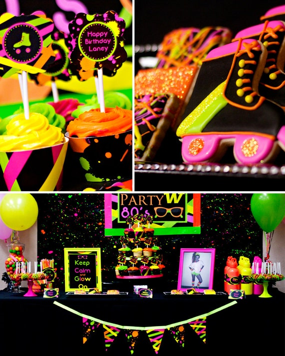 Neon party 80 39 s party skate party printable for Decoration 80 s