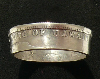 Rare Silver Coin Ring 1883 Hawaii 1/4 Dollar - Ring Size 7 1/2 and Double Sided