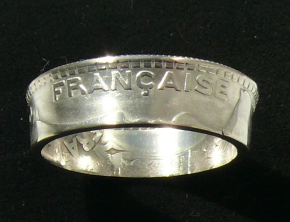 Chunky French Silver Coin Ring 1931 Ten Francs - Ring Size 11 and Double Sided