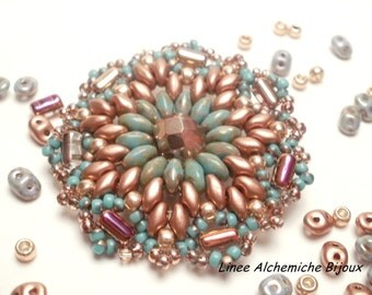 Lotus Bead TUTORIAL, how to make Pendant tutorial with Sueperduo, Rulla beads, seed beads and fire polish