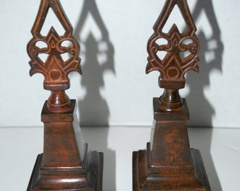 architectural salvage Moroccan style  a set of 2 felt based metal  with wood finish