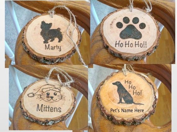 Christmas Name Tags: Personalized Pet Ornament Wood Slice Christmas Name Tag Wood