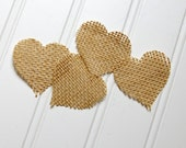 Burlap Heart Shapes- DIY Supplies for Rustic Wedding- Set of 50 2-inch hearts. Shabby Chic Wedding. Wedding Decor. Wedding Table Decor.