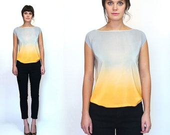 Ombre Silk blouse.  Sunrise hand dyed Silver and Apricot ombre pastel spring blouse gradient summer top silk tee silk blouse grey orange