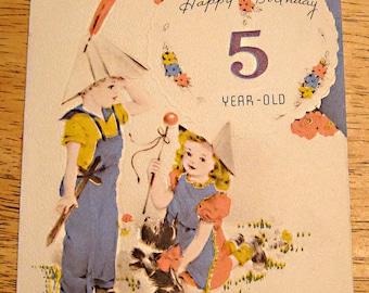 Vintage birthday card 5 year old 1940s