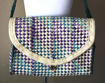 Vintage Oversized Teal and Indigo Woven Straw Bag