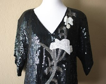 Vintage Art Deco Style Beaded and Sequined Blouse xx