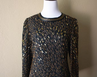 Vintage Gold and Bronze Beaded Blouse