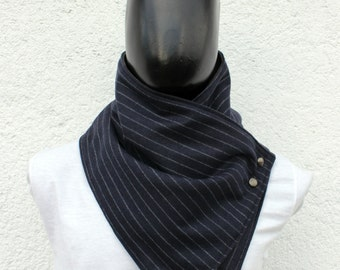 Mens scarf. Mens cowl scarf. Wide,Navy blue wool with grey lines,  metalic snaps . Modern and cozy. Mens winter. Husband gift.