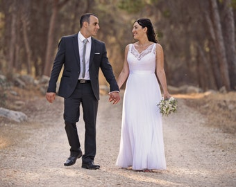 Lace Wedding Dress Chiffon Wedding Dress Bohemian Wedding Dress Low Back Wedding Dress Boho Wedding Gown Paulastudio Wedding Dress