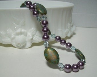 Turquoise and Mauve Necklace. Czech Glass and Swarovski Pearls and Crystals. Dressy Necklace.