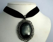 Hematite Pendant necklace black Velvet Choker Gothic steampunk Victorian Scottish Celtic large haematite stone jewelry womens accessories