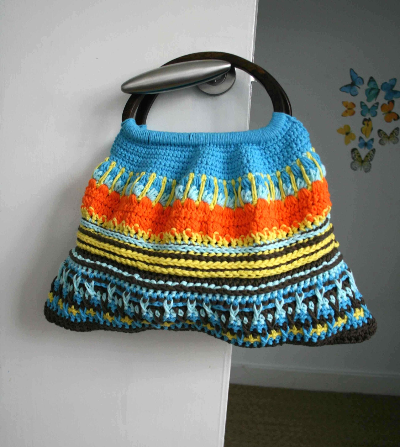 Crochet pattern wooden handle crochet purse retro by LuzPatterns
