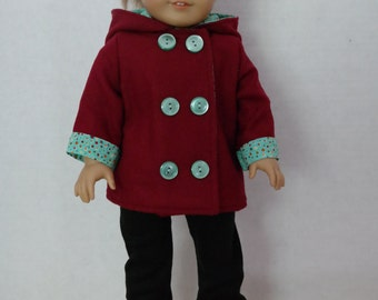 Burgandy doll coat with mint green lining