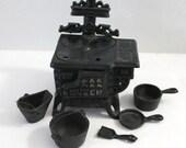 Miniature 11 Piece Cast Iron Stove Queen Dollhouse Toy Collectors Item
