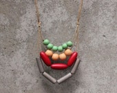 Contemporary geo statement necklace, nectarine, peach, red, greyed jade, mint, grey, vintage colours, wooden bead, boho, layer necklace.