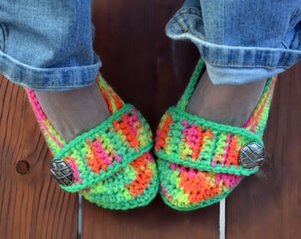 Neon crochet slippers, womens slippers, womens crochet slippers, booties, shoes, socks, colorful, variegated, tie dye slippers in dayglow