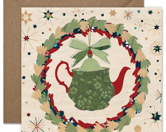 Christmas Teapot inside the Wreath Greeting card or greeting card set