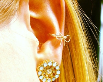 Rose Gold filled Cutie bow Conch / Cartilage hoop (single)