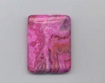 Pretty rectangular fuchsia crazy lace agate pendant or centerpiece bead - 40 x 30 mm