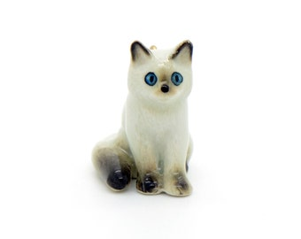 1 - Porcelain Ragdoll Kitten Pendant Hand Painted Glaze Ceramic Animal Ceramic Cat Bead Vintage Jewelry Supplies Little Critterz (CA046)