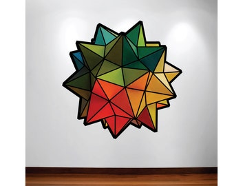 Geometric origami star- orange green and yellow-  fabric wall decal