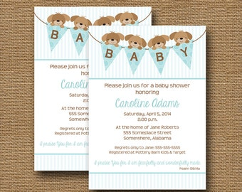 "Puppy Dog Baby Shower Invitation Baby Boy DIY PRINTABLE ""Blue Puppy Banner"" Christian Scripture Bible Verse Card"