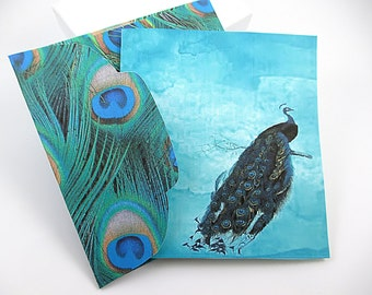 Mini Cards,  Peacock Feather, Matching Envelope,  Custom Designed, Set of 4 Tag, Peacock, Mini Card, Matching Envelopes