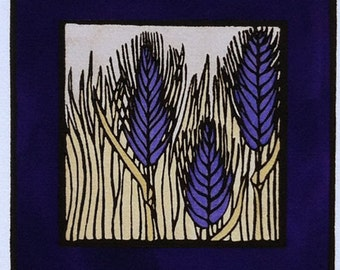 Small Linocut Arts and Crafts Prairie Dark Blue Wheat