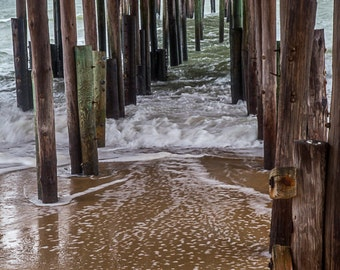 Beach Photograph stormy Ocean Print Stormy Sea Coastal dock Nautical Nature Landscape theartisangroup