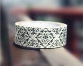 Retro Black Floral Washi Tape Rice Paper Tape Flower Masking Tape - 5m