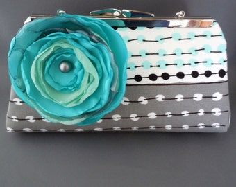 Marimekko Aqua Turquoise Grey Black White Wedding Clutch, Mother of the Bride Clutch, Mother of the Groom Clutch, Bridal Clutch, Bridesmaids